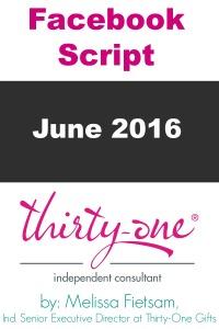 Thirty-One Facebook Script