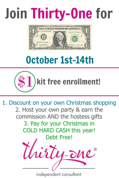 Join Thirty-One for $1, join thirty-one, $1 enrollment, join for one dollar
