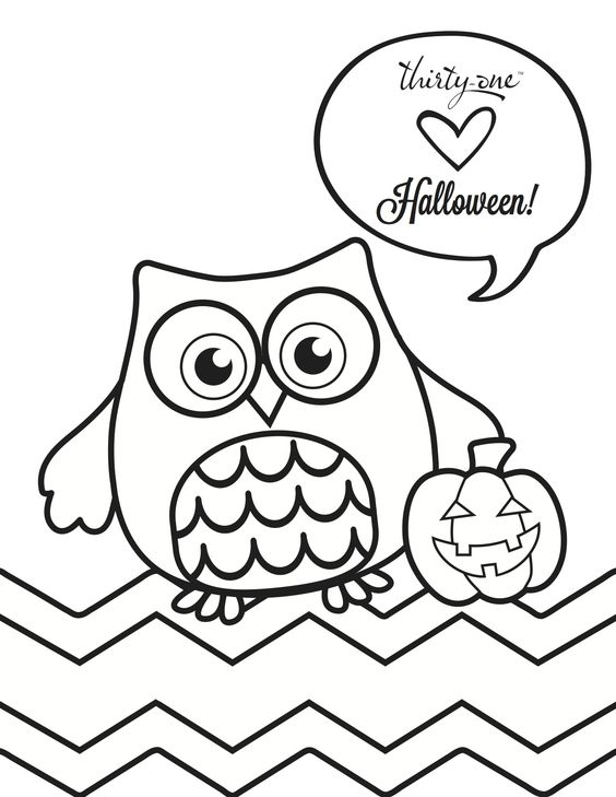 owl, Thirty-One, Halloween, coloring page