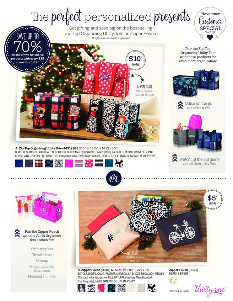 November customer special, thirty-one gifts, 31, 31 bags, customer special, zip top organizing utility tote