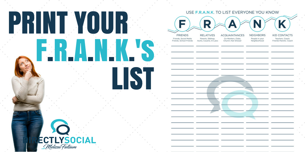 Frank's list for direct sales new consultants